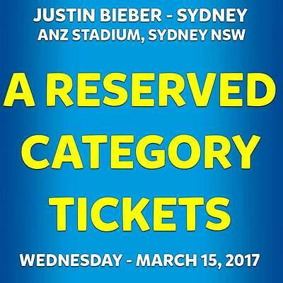 2x Justin Beiber Tickets A Reserve - Sydney - ($340 each) Category A Grandstand
