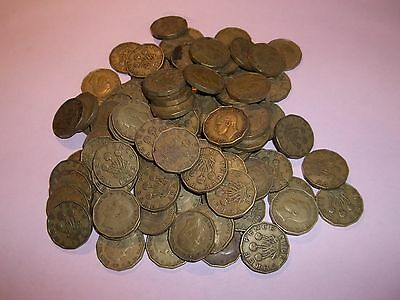 100 GEORGE VI THREEPENNY BIT COINS 1937 to 1952 - BULK COLLECTION
