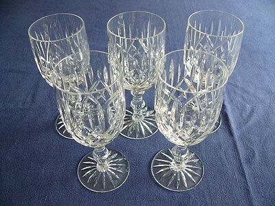 Stunning Set of 5 Vintage Red Wine Crystal Glasses - Superb Condition