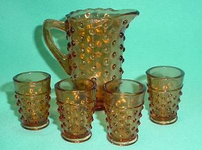 Childs Amber Glass Hobnail Water Set