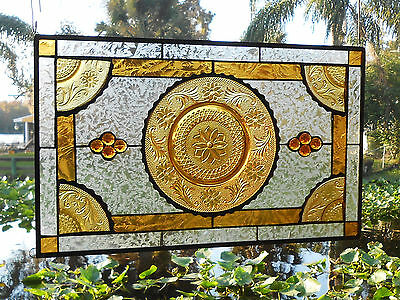 Stained Glass Window Panel, Vintage Sandwich Glass Plates, Stained Glass Transom