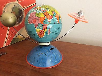 """Antique Clockwork Space Toy """" Satellite 2000"""" By MS Toys Western Germany"""