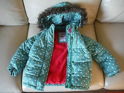 Boden Girl's Padded Coat - Age 5-6 Years - Teal Spot