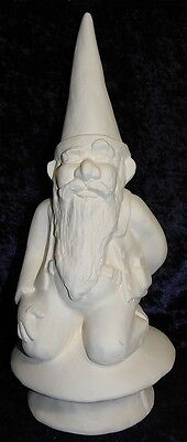 Ready to Paint Ceramic Bisque - Garden Gnome kneeling on a mushroom