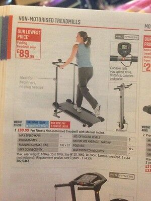 Pro Fitness Non-Motorised Treadmill With Manual Incline