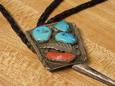 2- Two Vintage Turquoise Bolo Ties - 1 signed Marvelyne Zuni  NoRsv L@@K!