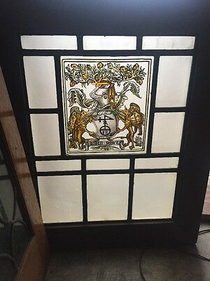 Sg 922 Antique Painted In Fired Crest Symbol Knight Stainglass Window