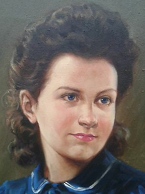 Oil on Canvas - Portrait of a Woman  in Blue