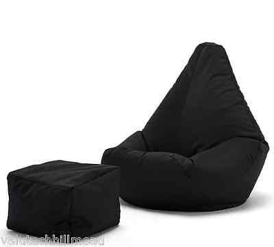 House Additions 2 Piece Bean Bag Lounger Set in Black