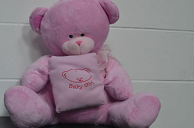 HUGE Pink Teddy Bear Baby Girl Plushie Soft Toy Stands at 20 Inches Tall