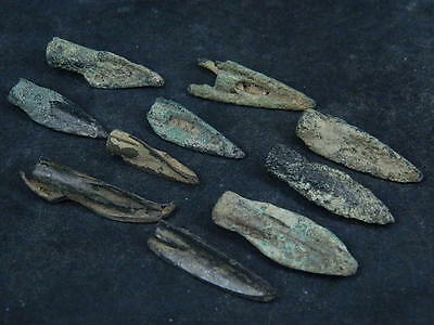 Ancient Bronze 10 Arrow Heads Bactrian 300 BC    #S4483