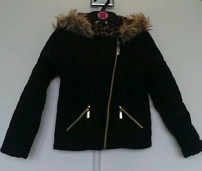 Age 9-10 Miss E-vie hooded, quilted school coat. Black with fur trim