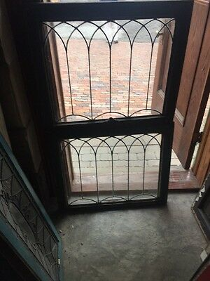 Sg905 Two Available Price Separate Antique Leaded Glass Gothic Design Window