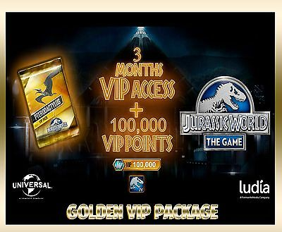 Jurassic WORLD The Game GOLDEN VIP + 100,000 VIP POINTS package Android iOS park