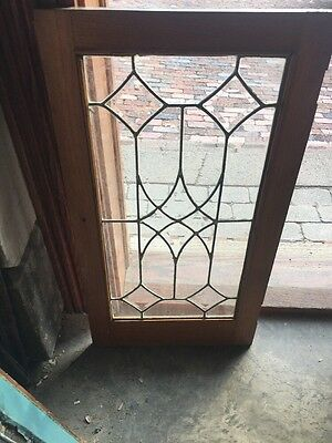 "Sg 923 Antique Leaded And Beveled Glass Cabinet Door Or Window 16"" X 30"