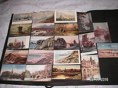 20 Vintage Artist Painted  Scenic Postcards -11 Posted 1903 - 1923