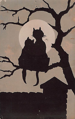 c1910 ARTIST DRAWN POSTCARD ~ BLACK CAT SILHOUETTES in TREE UNDER THE MOONLIGHT