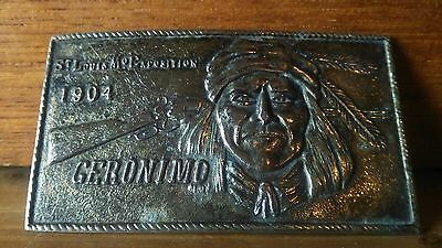 Rare Geronimo Silvered Brass Belt Buckle 1904 St Louis Mo. Exposition