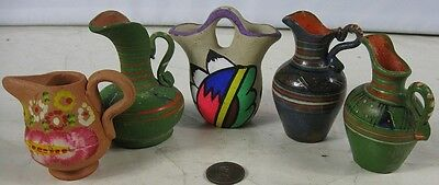 Lot of 5 Vintage Miniature Vases Creamers Indian Red Ware Nice Looking