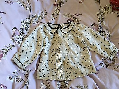 Children Kids Girls Winter Next White Bow Pattern Style Blouse 8Years