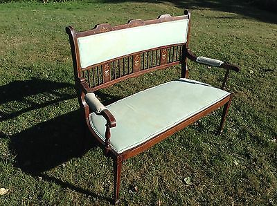 Antique Small Settle / Seat / Bench / Sofa - Duck Egg Blue Fabric & Check