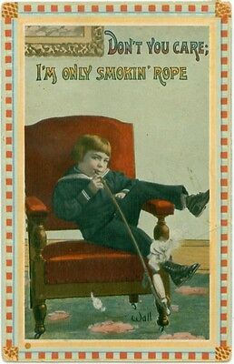 "1913 Signed Bernhardt Wall Boy Smoking Pipe ""Only Smoking Rope"""