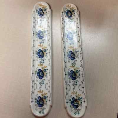 Pair of Vintage French PORCELAIN Floral Door Plates / push plates LIMOGES marked