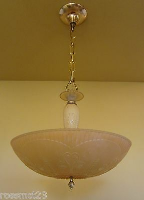 Vintage Lighting 1930s Art Deco Markel chandelier   Gorgeous Color