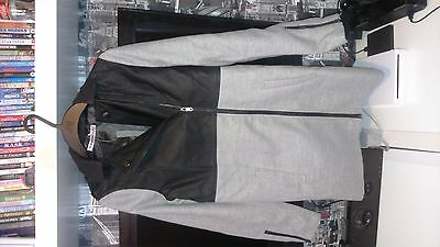 new girls grey and leather look biker style coat age 13-14