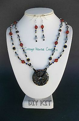 """""""Ramona""""Bead Kit with Instructions Milliefior Pendant Jewelry Making Supplies"""