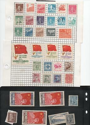 China Stamp Collection On Old Page Clippings.Good Lot. 3 Scans.