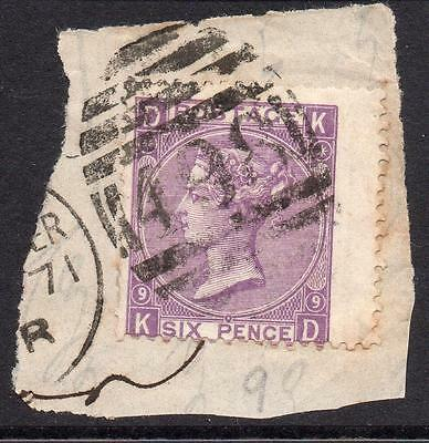Great Britain 6 Pence Stamp c1870 Used on Piece Plate 9 SG109