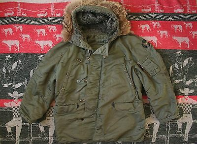 VTG 60s VIETNAM ERA USAF N-3B SNORKEL FLIGHT PARKA JACKET COAT COYOTE FUR HOOD M