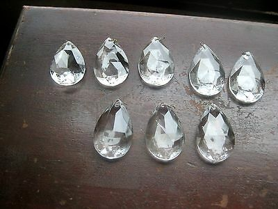 Vintage Antique Crystals Teardrop Multi-Faceted Clear Chandeliers Lamps*8