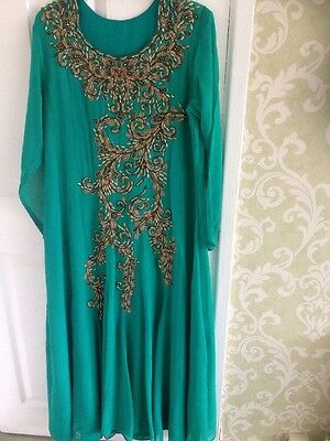 Ladies Bollywood Stunning Long Party Dress Large Uk16