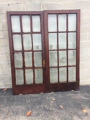 "Cm 110 Antique Pair Beveled Glass French Doors 6' X 83.5"" Oak"