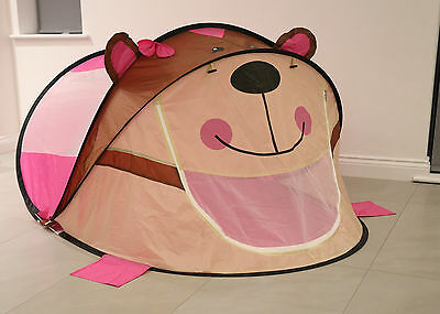 Kids Children Play Tent Pop Up Indoor Outdoor Play House Girls - Pink Bear