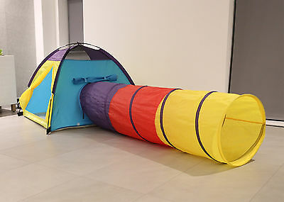 Kids Children Play House Tent Tunnel Set Indoor Outdoor Boys Girls - 2 Combo Set