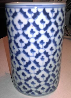 Antique Porcelain Brush Pot Blue/White Hand Made in Thialand