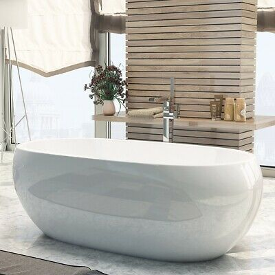 1660mm Luxury Modern Freestanding Bath Oval Acrylic White Design Bathroom Tub
