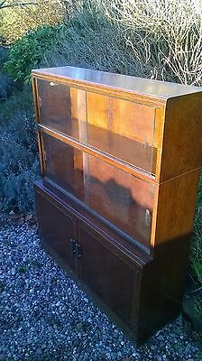 Minty of Oxford - Antique Mahogany Library Bookcase With Glass Sliding Doors