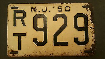 1950 New Jersey Nj License Plate Tag # Rt 929