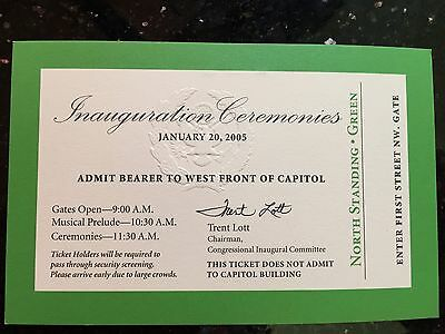 George W. Bush 2005 Official Inaugural Swearing-in  Green VIP Ticket