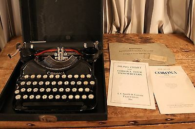 Vintage/Antique Corona Four Typewriter, case, instructions - Outstanding cond
