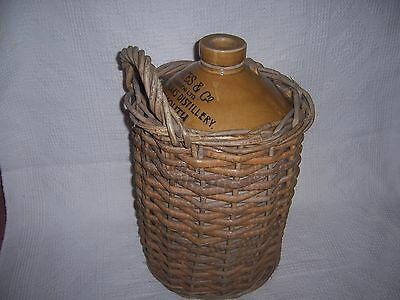 vintage  stoneware and wicker crock