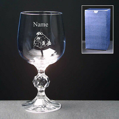 PUG Personalised Engraved Wine Glass FREE ENGRAVING 3 Sizes New Birthday Gift