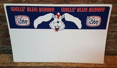 "Vintage 1980's 16"" X 25"" WELLS BLUE BUNNY Advertising Sign DOUBLE SIDED"