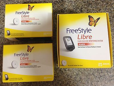 FREESTYLE LIBRE SYSTEM 2xSENSORS & 1xREADER NEW SEALED Genuine UK Product