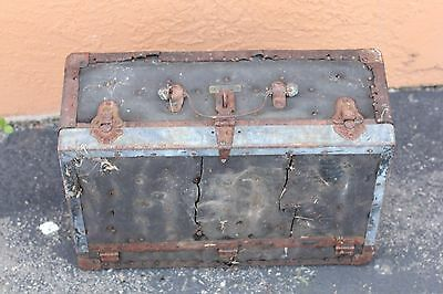 Vintage Antique Wood Steamer Trunk Chest Table Luggage Wood 20x12x8""