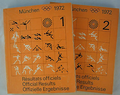 2 Official Results   XX.Olympic Games MÜNCHEN 1972 - Complete  !!  EXTREM RARE